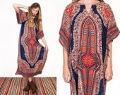 Vintage 70's Bohemian Dashiki Angel Wing Sleeve Tunic Maxi Dress