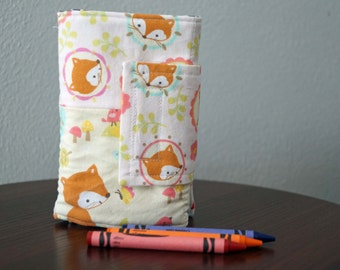 Art Wallet - Girl Crayon Holder - Foxes - Pink - Blue - Orange - Birthday Gift - Travel Activity - Ready to Ship