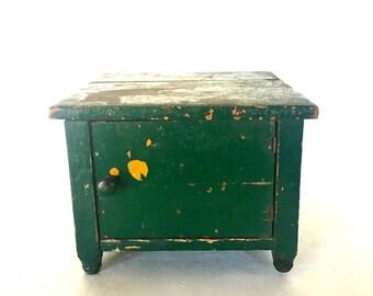 Antique cupboard /  Cobblers Shoe Shine Kit / step stool- Folk Art