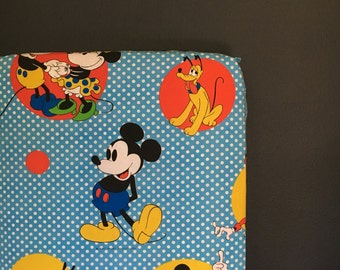 fitted crib sheet made with mickey and friends vintage sheet- Ready 2 Ship