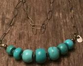 Oxidized Chain and Gemstone Necklace Rustic gem necklace, Turquoise Howlite Big Stones, Sundance Style