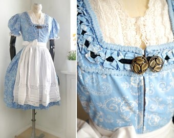 Vintage Dirndl blue Dress 2 pieces with white lace apron Cornflower blue German Romantic Traditional Country dress Bavaria fashion M