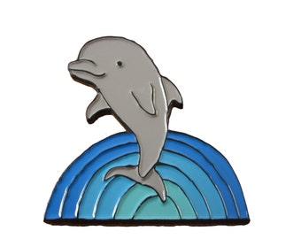 Soft Enamel Dolphin Pin - Blue Dolphin Pin - Rainbow Waves PIn