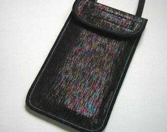 Pretty iPhone 6 Case Neck Pocket Smartphone Purse Crossbody Cellphone Cover Small Shoulder Cute Mini Sling Bag metalic rainbow fabrics color