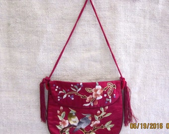 Stunning Vintage 1970s - Chinese Silk and Gold Thread EmbroideredPurseChristmasInJuly ETSY CIJ