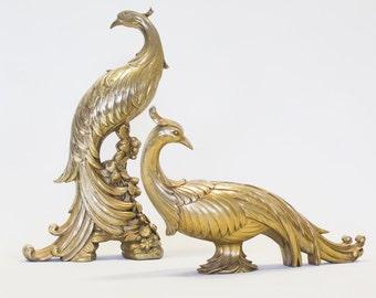 Peacock Figurines, Hollywood Regency / Mid Century, Vintage Set of 2