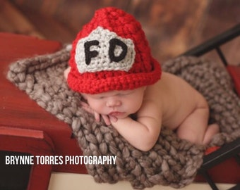 Newborn Boy Fireman Hat - Made to Order