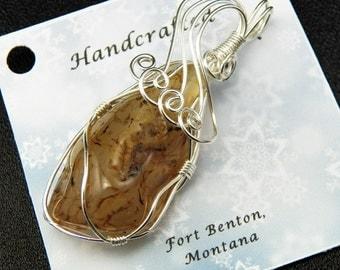Wire Wrapped Stone Pendant - Montana Agate Stone Pendant - Natural Stone Jewelry - Costume Jewelry Handmade Montana USA - Free Shipping
