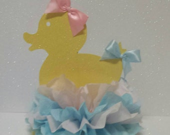 Duck baby shower or birthday party decor Table Centerpiece Gender Reveal Blue Pink Boy or Girl