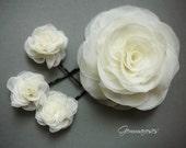 White or Ivory  Handmade Bridal Wedding Hair Flower Set