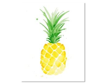 "Piña Pineapple Watercolor Giclee Print of an Original Painting 5 x 7"", 8 x 10"", 11 x 14"", 13 x 19"""