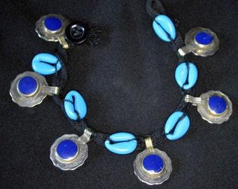 Vintage Kuchi Anklet Ankle Bracelet Cowries Cowry Shells BLUE Coins Hippie Boho Gypsy Tribal Uber Kuchi®
