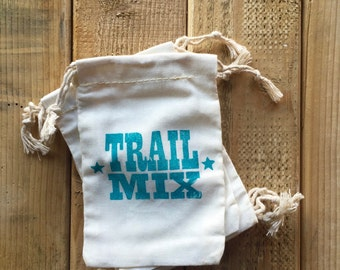TRAIL MIX - 6 Favor Bags - 4 x 6 Fabric Bags with Cord tie - Hand Stamped Teal