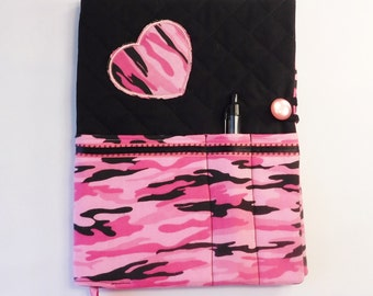 Journal Notebook Cover - Composition Notebook Cover - Journal Diary - Notes - Writing Journal Pink and Black Camo Print - Journal Cover