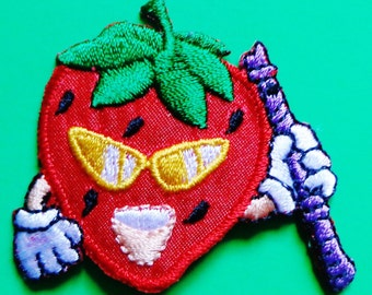 Iron On Patch Applique - Strawberry with Flute
