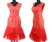 1950s Dress // Red Lace Mermaid Wiggle Bombshell Tulle Hem Dress