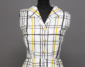 1950s Dress // Black and Yellow Ochre Plaid Sleeveless Cotton Day Dress