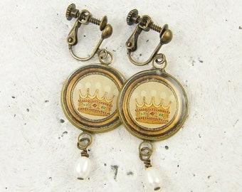 Dangle Clip on Earrings, Brass Clip Earrings, Pearl Clip Earrings, Vintage Crown Clip Earrings White Pearl Dangle Screw Back Earrings