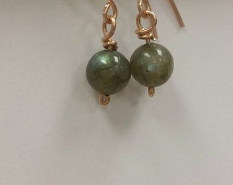 Labradorite Earrings (Pierced) in Bronze