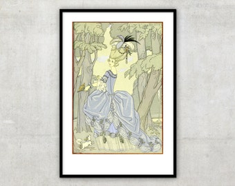 """Art Deco print vintage style illustration for poetry collection """"Fetes Galantes""""  by George Barbier, IL081."""