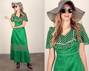60s Green Dress Vintage Forest Polka Dot Maxi