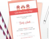 Owl Girl Baby Shower Invitation - Pink Peach - Owl Party Invitation - PRINTABLE JPEG or PDF file
