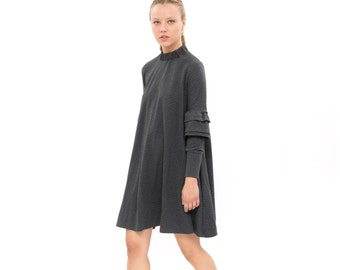 Gray dress, Everyday dress, oversized, Trendy Swing Dress with Pockets,knee length Dress, Long detailed Sleeves,  Loose dress