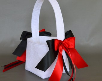 White lace wedding flower girl basket with scarlet red and black ribbons
