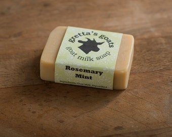 Organic Rosemary Mint Goat Milk Soap from Hand Milked Goats that Graze on Organically Managed Pasture