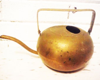 Antique brass watering can vintage round unusual