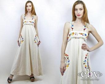 Hippie Wedding Dress Hippie Dress Hippy Dress Boho Dress Boho Wedding Dress Vintage 60s Embroidered Floral Maxi Dress M L Embroidered Dress