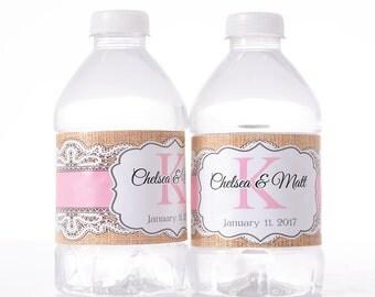 Burlap Decorations - 75 Wedding Water Bottle Labels - Wedding Water Labels - Custom Water Bottle Labels - Waterproof Water Bottle Labels