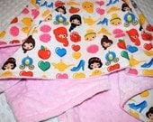 Disney Princess Emojiland on Light Pink Minky Dot Infant, Baby, Toddler or Child Size Blanket