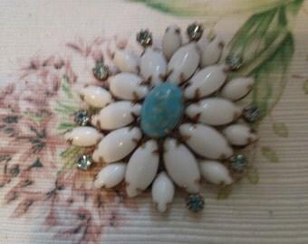 Snowflake Flower Aqua and White Brooch