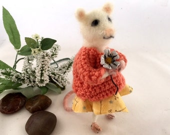 Needle felted white mouse poseable felt ballerina rat unique gift crochet sweater Daisy