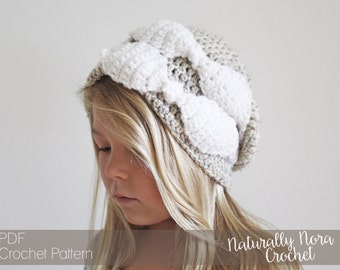 Crochet Pattern: The Abby Beret -Toddler, Child, & Adult Sizes- Slouchy Beanie, stripe, bow, earthy