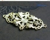 30%OFF SALE Filigree Oval setting 40mm, Raw brass, pendant, connector, cabochon base, stamping - 1Pc - F107