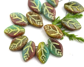 12x7mm Leaf beads, Mixed Fall color, Green, Brown, Yellow Inlays, Czech glass pressed leaves - 25Pc - 2145