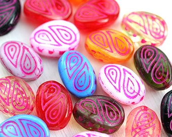 Candy colors Beads mix Multicolor twist czech glass beads Large oval czech glass Ornament wavy beads - 17x13mm - 10Pc - 2674