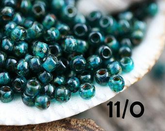 Picasso Seed beads, TOHO, size 11/0, Transparent Capri Blue Picasso, Y322, hybrid, blue seed beads - 10g - S640