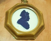 For Elizabeth - Antique Colonial Woman Profile Silhouette Round Bubble Glass Wooden Frame
