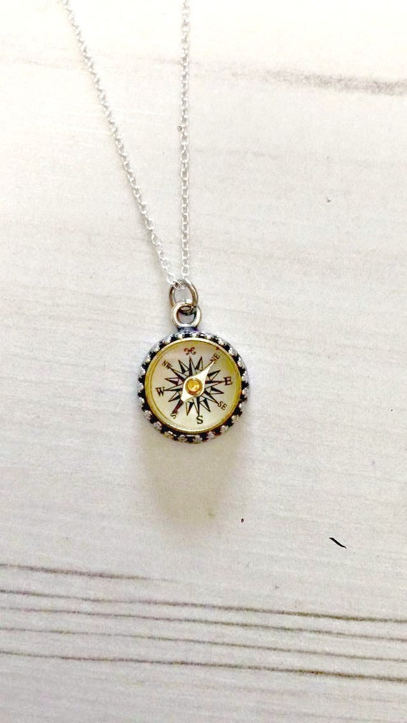 Antique Sterling Silver Working Compass Necklace