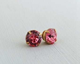 Rose Pink Earrings ... pink studs, pink post earrings, small glass studs, hot pink earrings