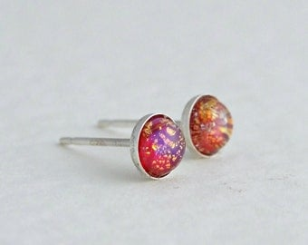 Fire Opal Studs ... red opal, sterling silver, tiny silver studs