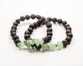 Anxiety - Luck (Abundance) - Stress-relief - Migraine-relief - Aventurine & Lava bracelet - Essential Oil diffuser bracelet