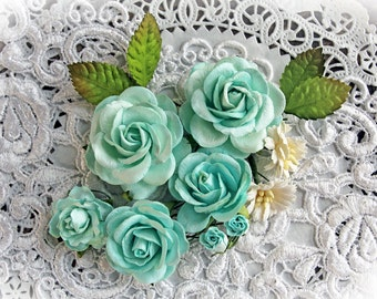 Reneabouquets Roses And Leaves Flower Set-Mulberry Paper Flowers- Aqua  Set Of 13 Pieces In Organza Storage Bag