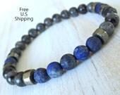 Protection & Inner truth Men's matte Lapis lazuli with Pyrite, black moonstone bracelet, Reiki Charged, Pyrite bracelet, wrist mala, lapis