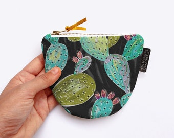 Colourful Cactus Unique Coin Purse with Gold Leather Pull and Chunky Zipper