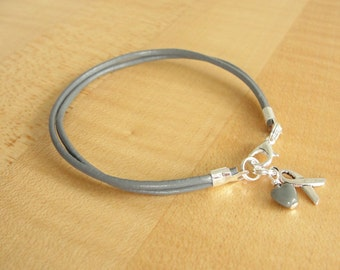 Gray Awareness Bracelet ( Leather ) - Diabetes, Asthma, Allergies, Alpha-1 Antitrypsin Deficiency  A1AD, Brain Cancer / Tumors, Parkinsons