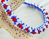 Patriotic Handmade Beaded Red, White and Blue Crystal Bangle Bracelet